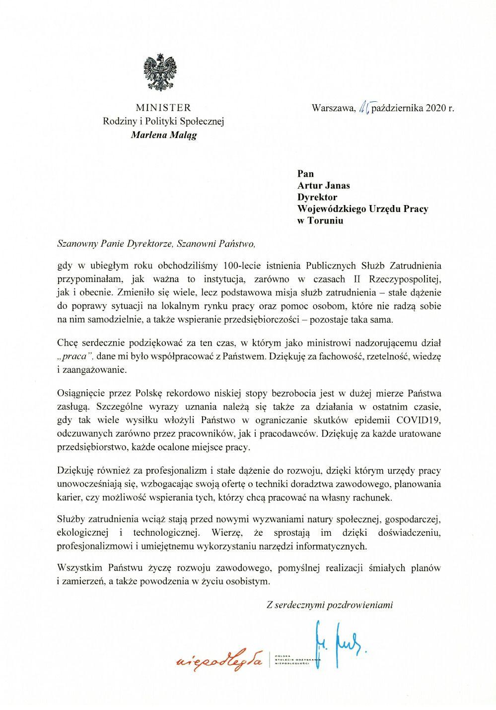Skan - podziękowanie Minister M.Maląg dla Publicznych Służb Zatrudnienia.